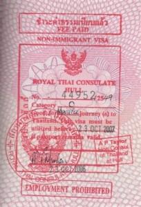 Esempio di visto per la Thailandia