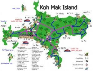 Cartina geografica isola Koh Mak