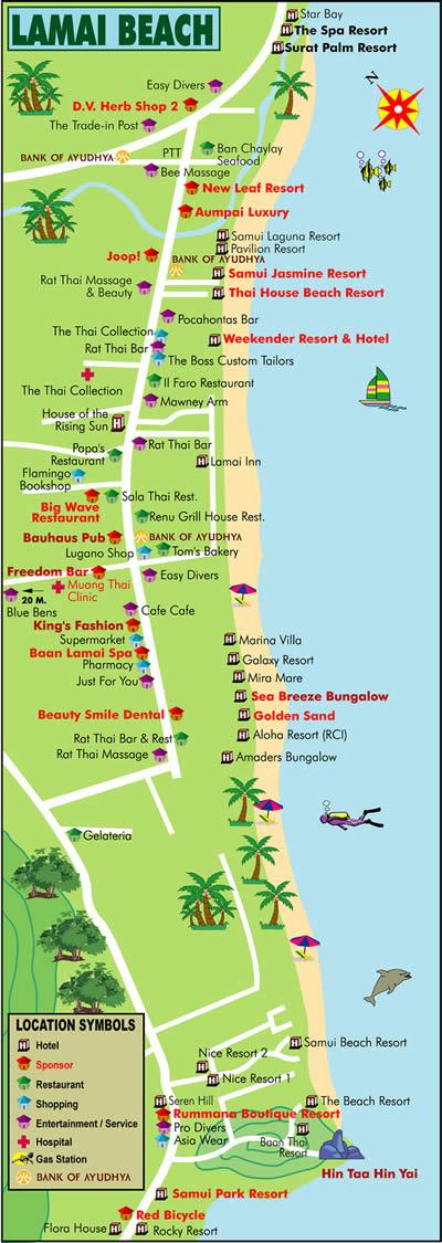 Map lamai beach koh samui тайланд