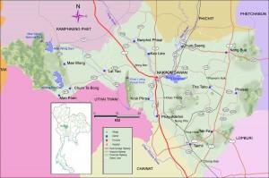 Cartina geografica della provincia di Nakhonsawan - Thailandia del Nord