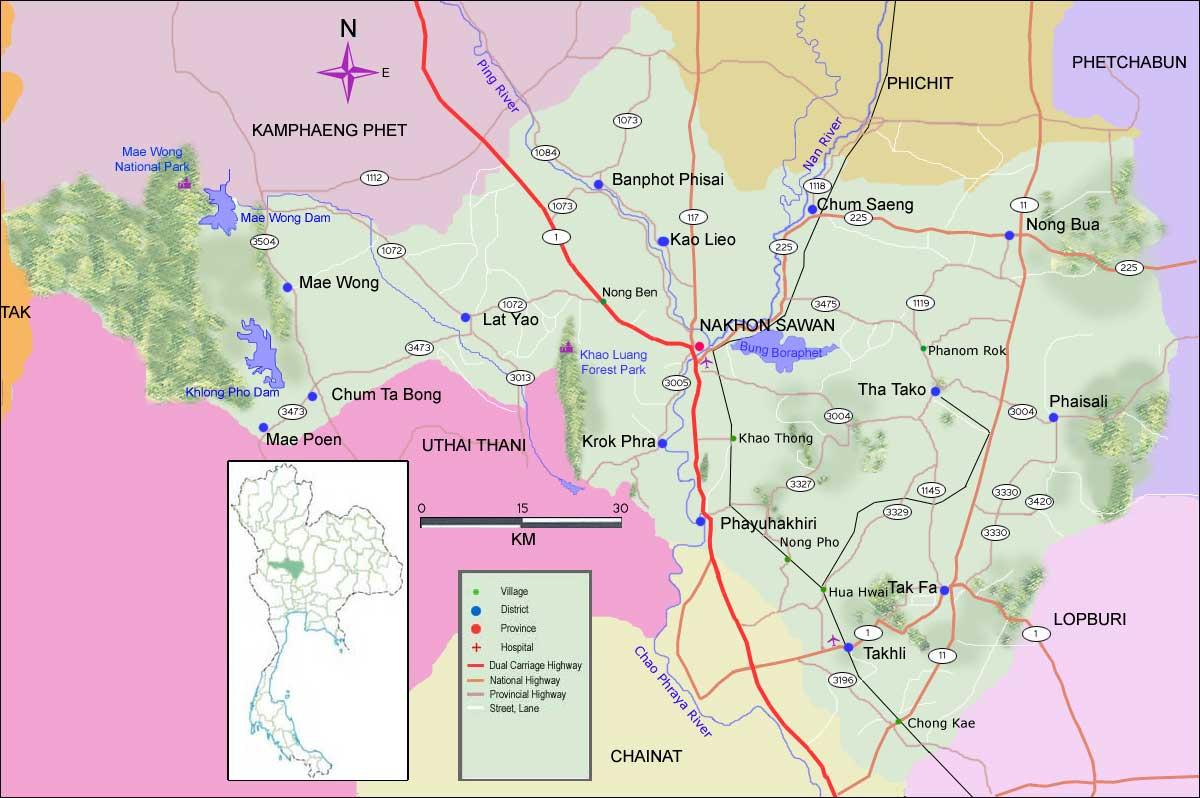 Nakhon Sawan Thailand  city images : Cartina geografica della provincia di Nakhonsawan Thailandia del ...