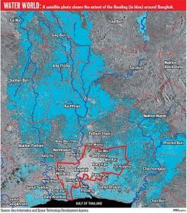 immagine satellitare estensione  inondazioni  attorno Bangkok