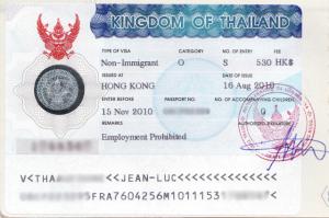 Passaporto con Visto Thailandia O non immigrant per pensionati